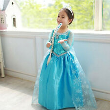 DRESSES PRINCESS ANNA ELSA FROZEN COSPLAY COSTUME PARTY DRESS BALL GOWN GIRLS-8Y