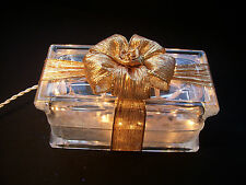Beautiful Solid Two Tone Gold or Gold Swirls Glass Block Light Lite Great Gift!