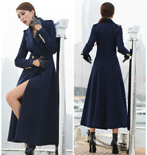 Winter Womens Navy Full Length Wool Blend Jacket Trench Parka Military Long Coat