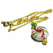Adorable Christmas Candy Glass Bead Necklace By SoniaMcD