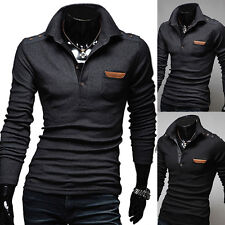 Mens Long Sleeve Stand Collar Buttons Leather Fashion Slim Fit Polo Shirt