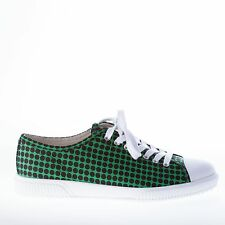 PRADA men shoes Black and green nylon fabric sneaker with rubber trim on toe