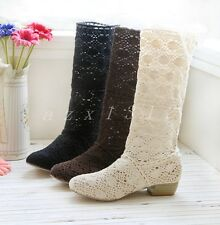 Women's Hollow Out Shoes Lace Cowboy Boots Mid-Calf Boots Wedge Low Heels Shoes