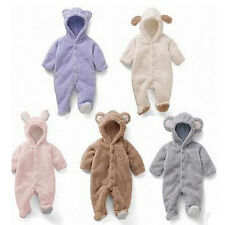 1x Baby Romper Hooded Suit Fleece Animal Babygro Bear Lovely Fluffy Soft  FKS