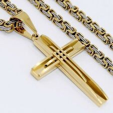 5mm Mens Silver Gold Stainless Steel Byzantine Chain PENDANT Necklace 18-36inch