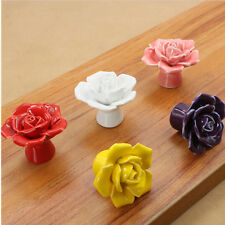 New Knobs Rose Colorful Pull Drawer Ceramic Handles Cupboard Hot Door Cabinet