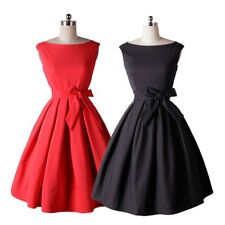 Women Vintage Style 50'S 60'S Rock Check Swing Pinup Retro Cocktail Party Dress