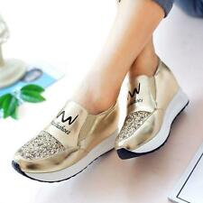 Gold Womens Sneakers Athletic Tennis Shiny Casual Runing Sport  Shoes US Size