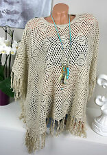 Crochet PONCHO Vintage FRINGES knit tunic Mesh pattern Hippie NUDE S/M M/L IBIZA