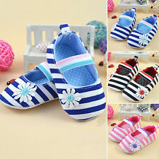 Princess Flower Striped Baby Soft Sole Toddler Crib Shoes Non-slip Sneakers NEW
