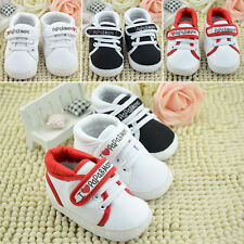 Baby Boys Girls Soft Sole Shoes Trainers Letter Print Newborn Crib Pre Walkers