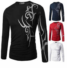 T-Shirt Long Sleeve Round Neck Slim Fit Casual Print Top Tattoo Mens