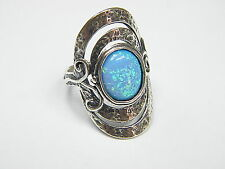 Precious Silver Earrings Shablool 925 Sterling Silver Oval Simulated Opal Blue