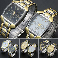 Men's Stainless Steel Band Golden Silver Tone Analog Quartz Wrist Watch Pleased
