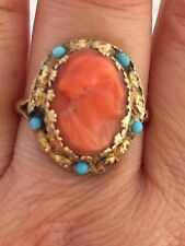 antique and rate carved coral and victorian turquoise silver gilt ring-uk size N