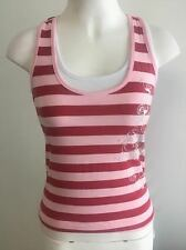 NEW Ladies Casual Pink Striped Singlet Top - 21 Degrees Brand Size 8,10,12 & 14