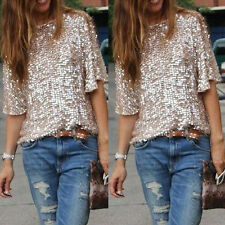 Sexy Womens Tank Vest Sequined Bling Off Shoulder Top Loose Shiny Shirt Blouse