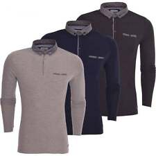 Brave Soul Mens 'Long Sleeved' Cotton Pique Polo T-Shirt Polo Collared Top