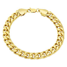 Men's 9.3mm Yellow 14K Gold Plated Curb Link Chain Bracelet with Fold Over Clasp