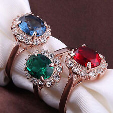 Luxury Rose Gold Crystal Finger Ring Emerald Red/Blue Rhinestone Womens Jewelry