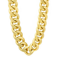 14mm Men's 14k Gold Plated Miami Cuban Link Curb Chain Necklace