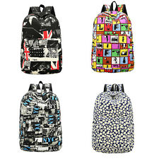 Girl Canvas Shoulder School Bag Bookbag Backpack Rucksack Flower Printed tAfdete