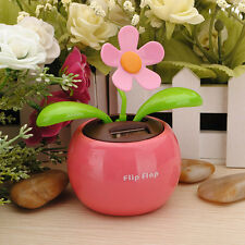 1x Flip Flap Solar Powered Flower Flowerpot Swing Car Dancing Toy Gift Home DD