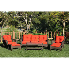 Outdoor Wicker Patio Furniture Set 6 PC Resin Table Chairs Sofa Ottoman Backyard