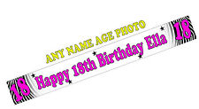 PERSONALISED BANNERS NAME AGE PHOTO BIRTHDAY PARTY zebra 18th 30th 50th 70th M1