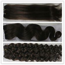 """New 15""""-36"""" Remy Human Hair Weft Extensions Straight Deep Wavy #4 Dark Brown"""