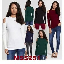 WOMENS LADIES LONG SLEEVE HIGH NECK ACRYLIC KNIT CUTOUT COLD SHOULDER TOP JUMPER