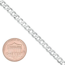 4.5mm Solid 925 Sterling Silver Beveled Cuban Curb Link Italian Chain