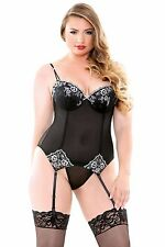 Sexy Black Sheer Embroidered corset brief plus size 20 22 24 P466 Bustier Xmas
