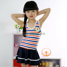 Korean Version Kids Summer Beach Stripes Bow-knot Skirt Girl Soft Cool Swimwear