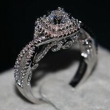 Valuable Jewelry Women 1ct White sapphire Cz 925 Silver Wedding Band Ring Gift