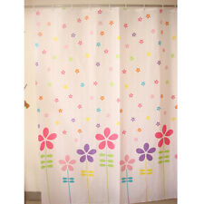 Red Purple Flower Pattern Bathroom Fabric Shower Curtain With 12 Hook