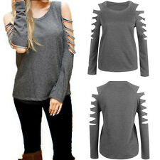 Sexy Women Lady Cut-out Shoulder T-Shirt Loose Long Sleeve Sweater Tops Blouse