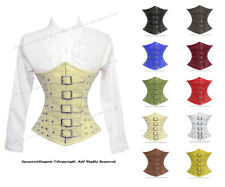 Full Steel Boned Waist Training Genuine Leather Underbust Shaper Corset #8135-LE