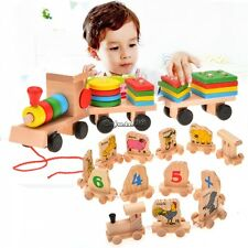 Stacking Train Wooden Toys Baby Kid Building Blocks Geometric Stacker CaF