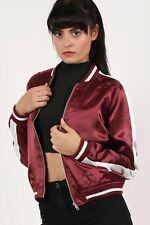Embroidered Satin Bomber Jacket in Wine Red