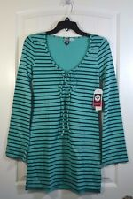 NWT WOMENS ROXY TEAL BLUE STRIPED LONG SLEEVE TIE UP NECK LONG BLOUSE SHIRT SZ S