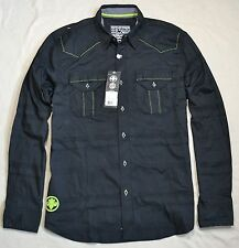 NWT MEN'S AFFLICTION BLACK INTO THE NIGHT LONG SLEEVE BUTTON UP SHIRT SIZE M L
