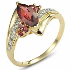 10KT Gold Filled Nobby Ladies Jewellry Size 6,7,8,10 Red Garnet Wedding Rings