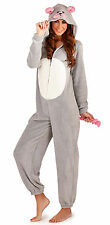 Sweet Ladies Mouse Print Fleece Onesie with Hood, Ears and Tail, Grey, Small-XL