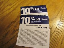 (2) Lowes 10% off Coupons, good at Lowes or participating competitor, Exp.10-15