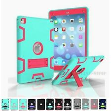 Hybrid 3in1 Kick stand Silicone Shockproof Hard Protective Case Cover For iPad