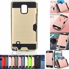 Shockproof Hybrid Brushed Hard Card Case Cover for Samsung galaxy Note 4 N9100