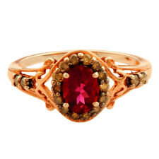 Ruby Gemstone Champagne Diamond Ring In Rose Gold Plated 925 Sterling Silver