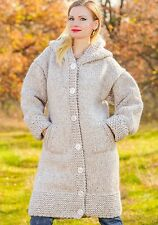 BEIGE Hand Knitted Mohair Wool Sweater Cardigan Long Thick Coat by SUPERTANYA