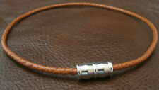 Choker or Bracelet Brown Braided Leather 316L Stainless Steel Magnetic Clasp